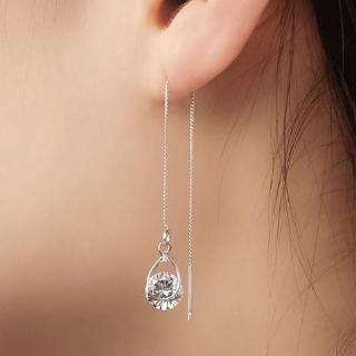 Sterling Silver Plated CZ Wave Flash lightning Charm Ear Line Threader Long Tassel Dangle Drop Earrings