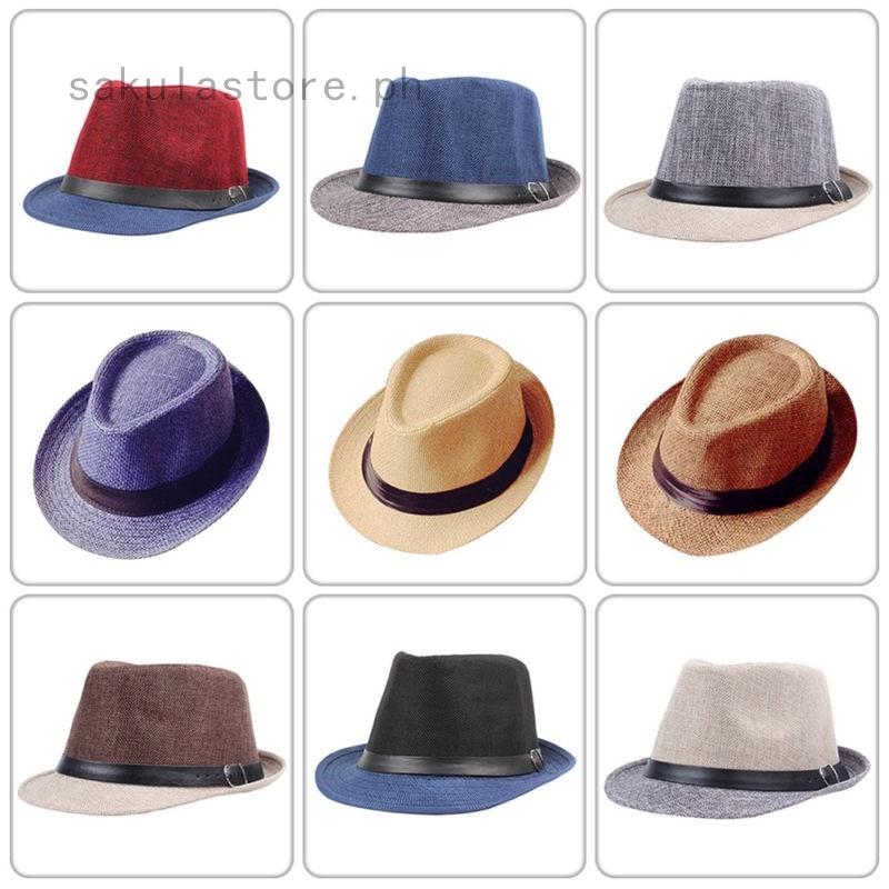 b1a6af75d Women&Men Summer Beach Sun Hat Jazz Panama Unisex Trilby Fedora Hat  Gangster Cap