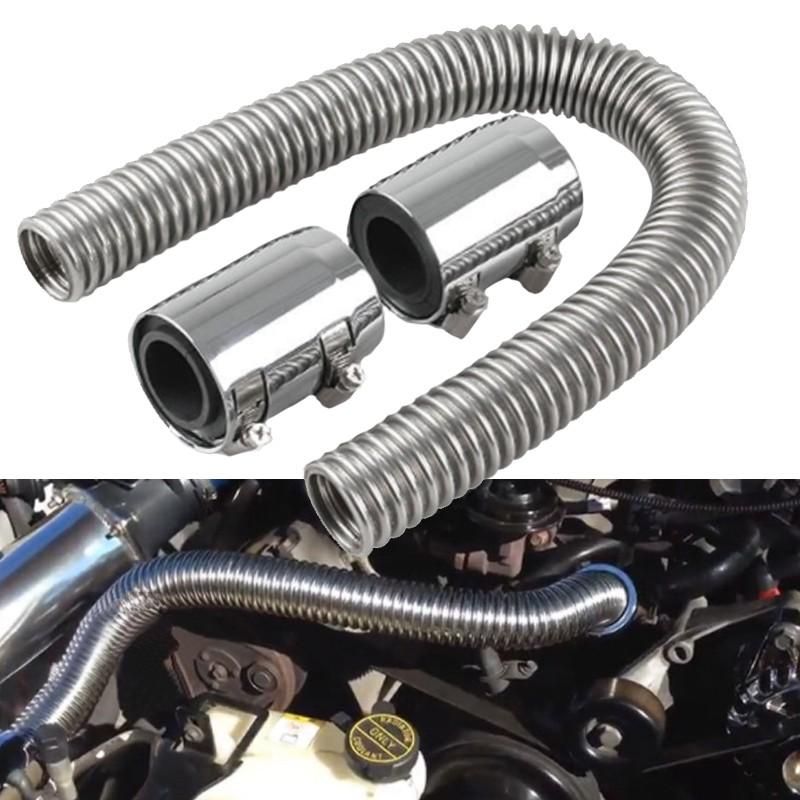 24/'/' Flexible Stainless Steel Upper or Lower Radiator Hose Set w// Chrome Caps