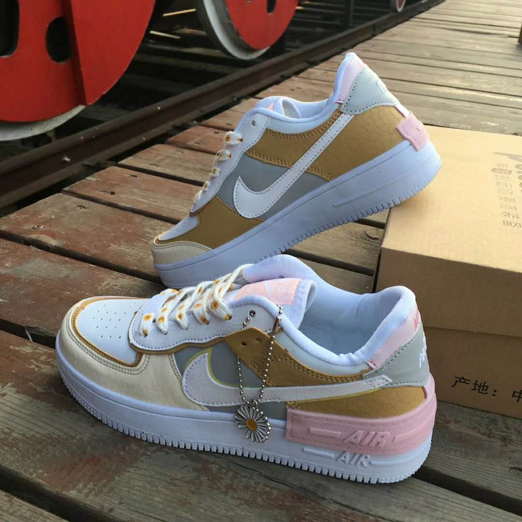 Original Nike Air Force 1 Shadow Af1 Cream Ice Cream Sneakers Spruce Aura White Ck3172 002 Shopee Philippines