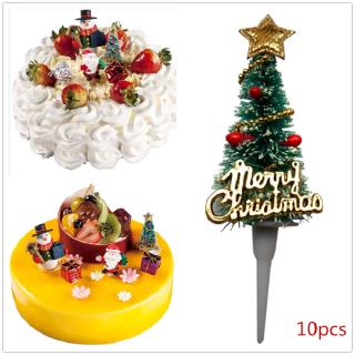 Christmas Cupcake Toppers.10pcs Christmas Cupcake Toppers Picks Cake Toppers Santa Tree Star Patterns For Christmas Party