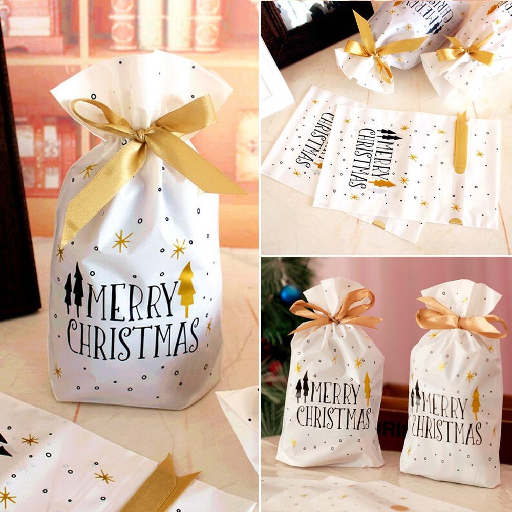 10pcs Merry Christmas Gift Bags Santa Cookies Candy Drawstring Packaging Bags