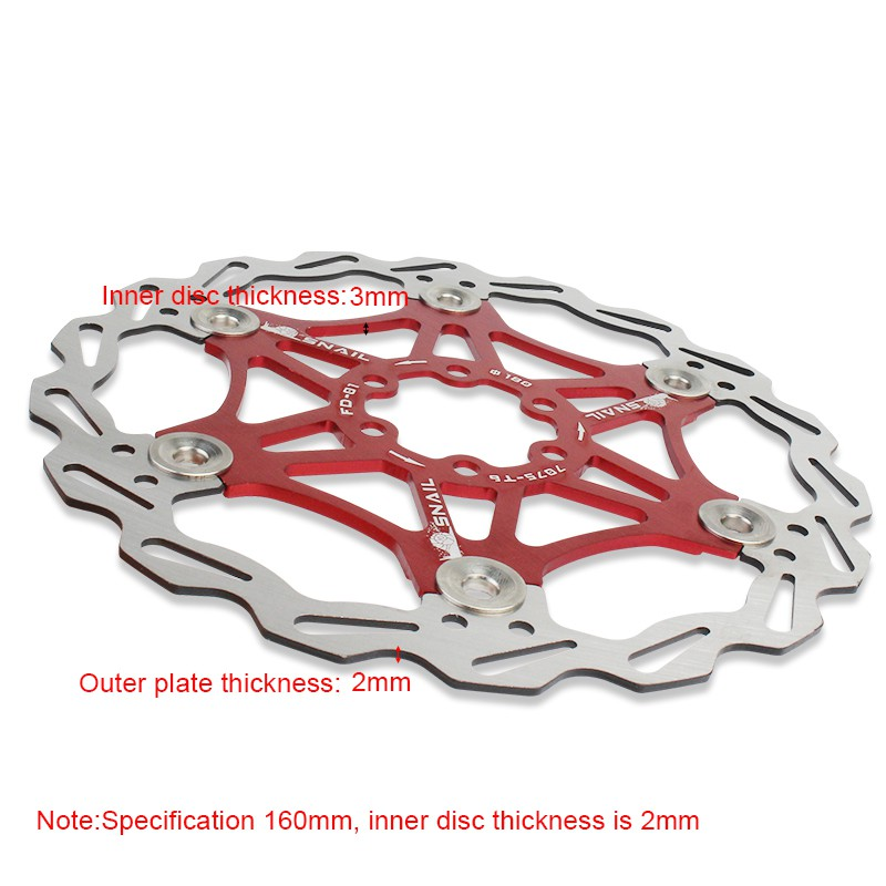 black Floating Bicycle Disc 180mm 6 Bolts Mountain Bike Type Floating Bicycle Brake Disc Pad Cycling Accessory
