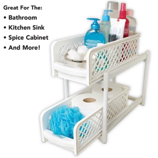Image result for Portable 2 Tier Basket Drawers Organizers Kitchen & Bathroom Cabinet