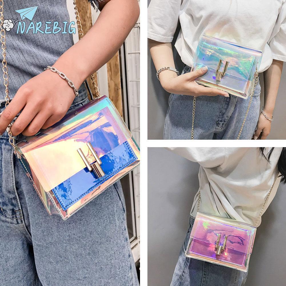 Women Medium Size Holographic Shoudler Bag Crossbody Satchel Casual Fashion Bags