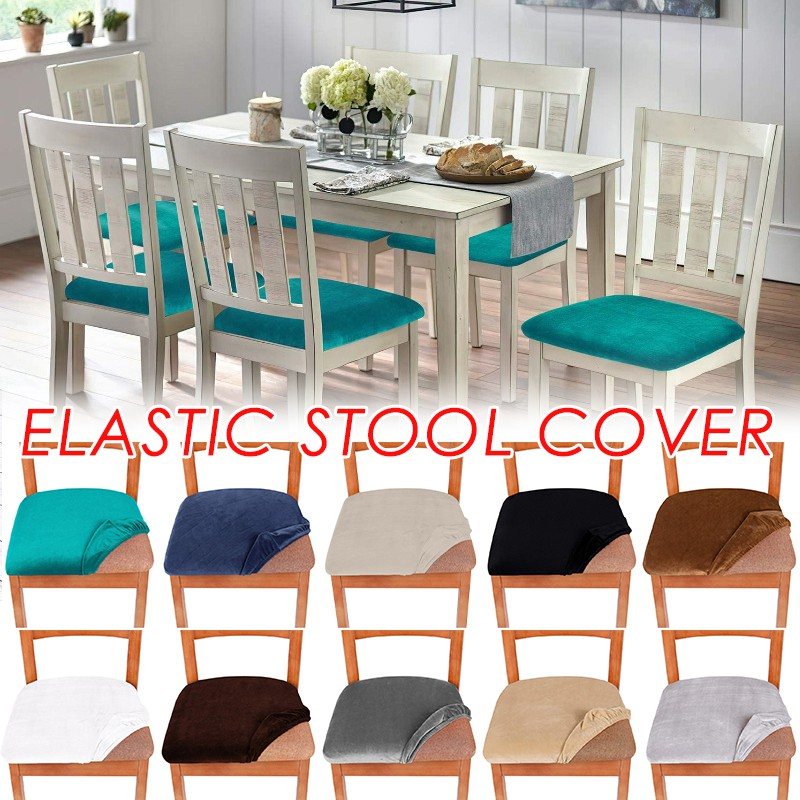 Soft Velvet Dining Room Chair Seat Covers Upholstered Chair Seat Cushion Cover Stretch Fitted Dinning Room Chair Covers Removable Washable Furniture Protector Slipcovers With Ties Shopee Philippines