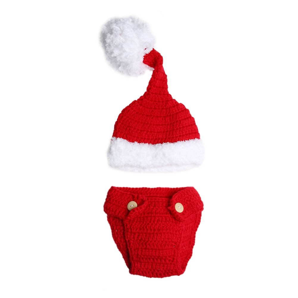c5e1998f933a6 Newborn Baby Infant Xmas Crochet Knitted Costume Hat Pants Photography Prop