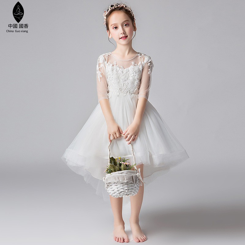 Kids Party Wear Fashion Small Fly Sleeve Dress For Girls Formal Elegant Skirt A