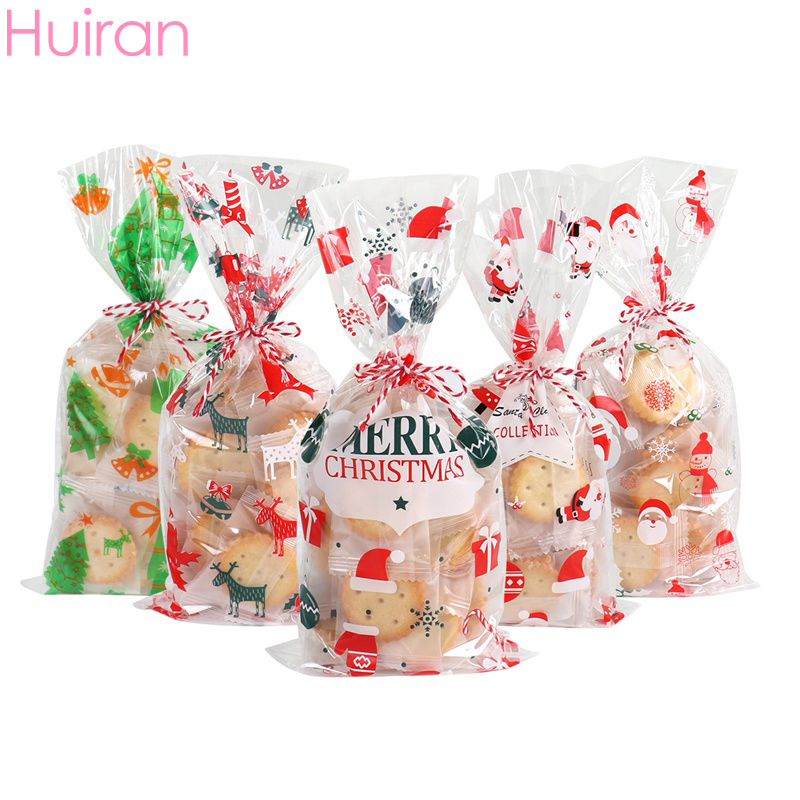 50Pcs Christmas Cellophane Party Bags Treat Candy Bag Christmas Party Favor Gift