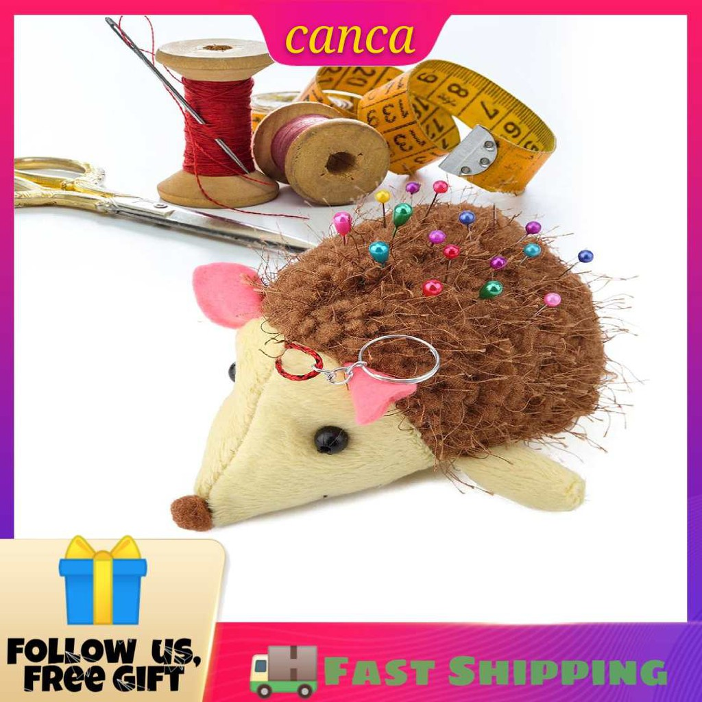 Cloth Sewing Needle Cushion Pin Holder with Lovely Hedgehog Shape DIY Sewing Craft Tool for Embroidery