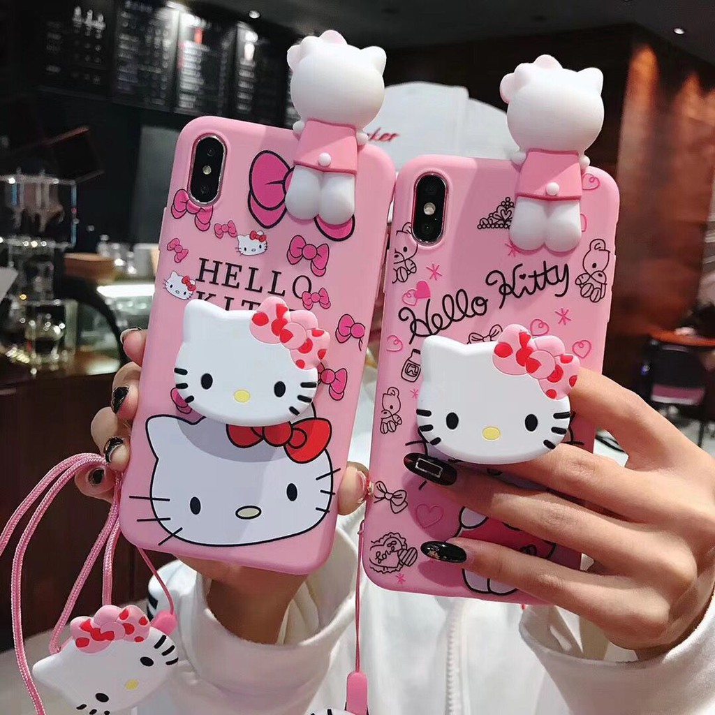 meet 1961a 536e8 OPPO A37 A5S A3S A39 A57 F1S A71 F5 A83 F3 Plus F9 F11 Pro A7 F7 Hello  Kitty Soft Case With Lanyard