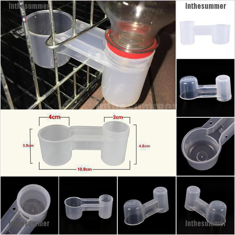 2pc bird feeder drinker cup water bottle drinking bowl poultry dove pet pigeon ^