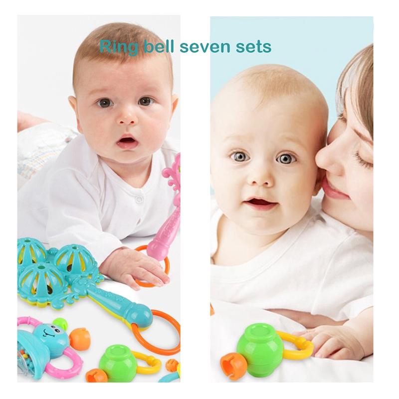 7Pcs//Set Newborn Toddler Baby Shaking Bell Rattles Teether Toys Kids Hand Toys