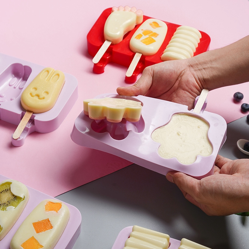 DIY Silicone Purple Frozen Ice Cream Mold Juice Popsicle Maker Ice Lolly Mould