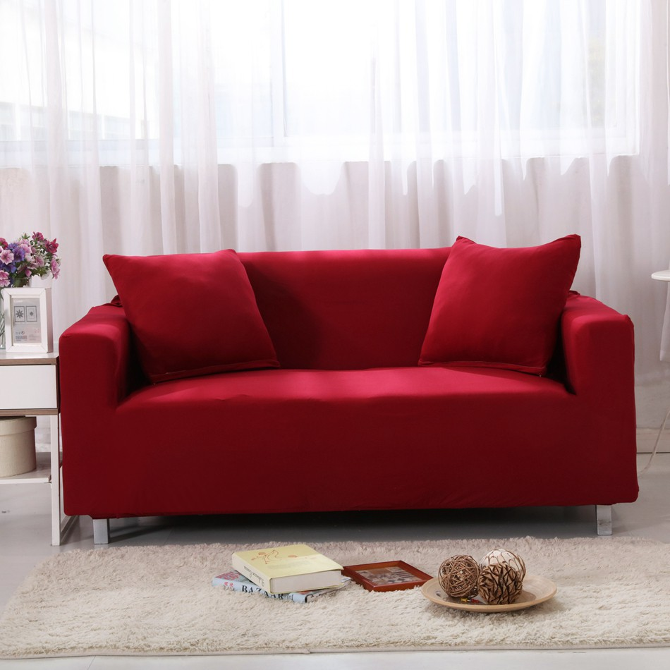 Red Wine Solid Color Elastic 1/2/3/4 Stretchy Sofa Slipcover
