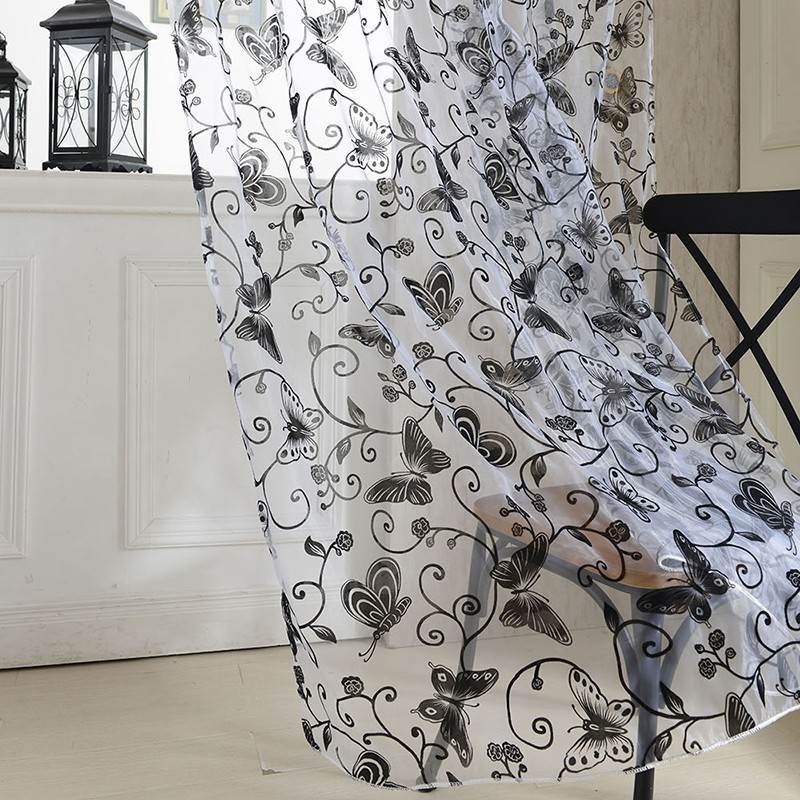 Sweet Butterfly Tulle Voile Door Window Curtains Drape Sheer Divider New