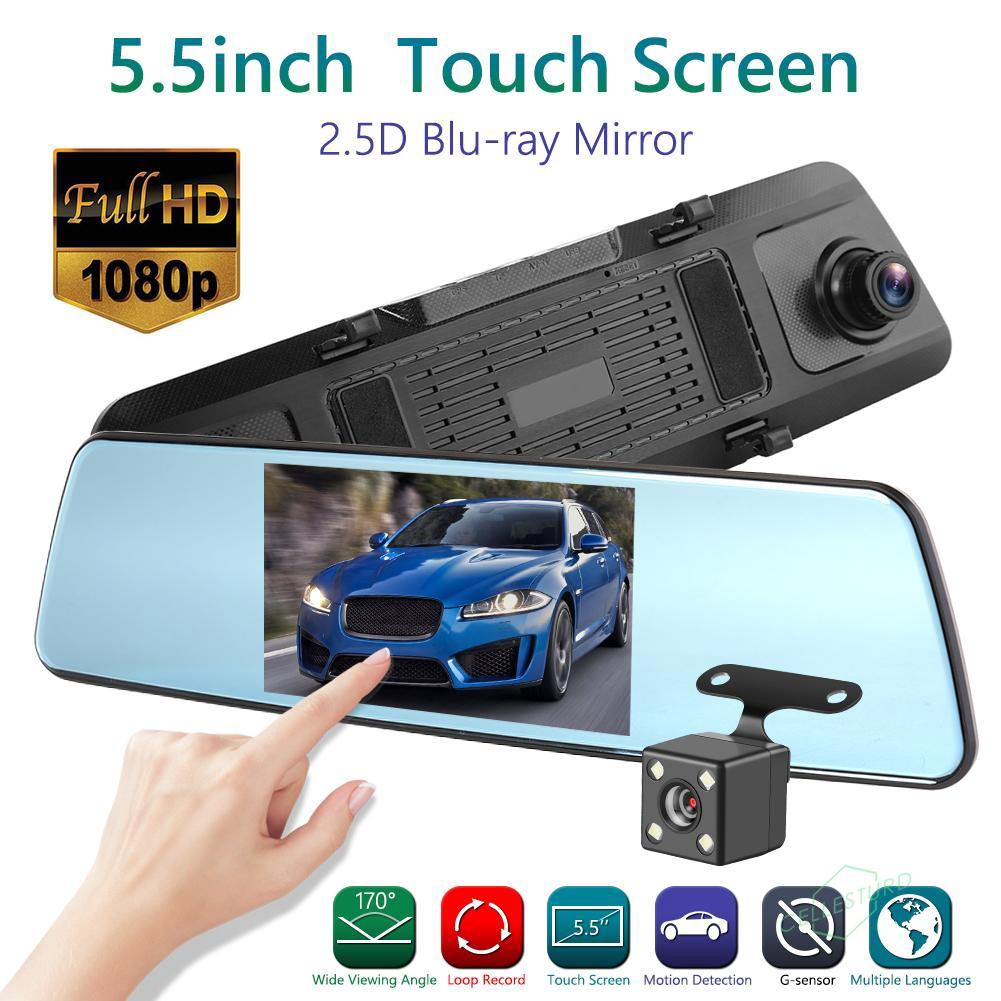 Dash Cam Double 1080P Azdome Front and Rear Car Camera 5.5-Inch Screen LCD Touch 170/° Wide Angle Waterproof Rearview Mirror Car Camera G-sensor Motion Detection Loop Recording Parking Mode