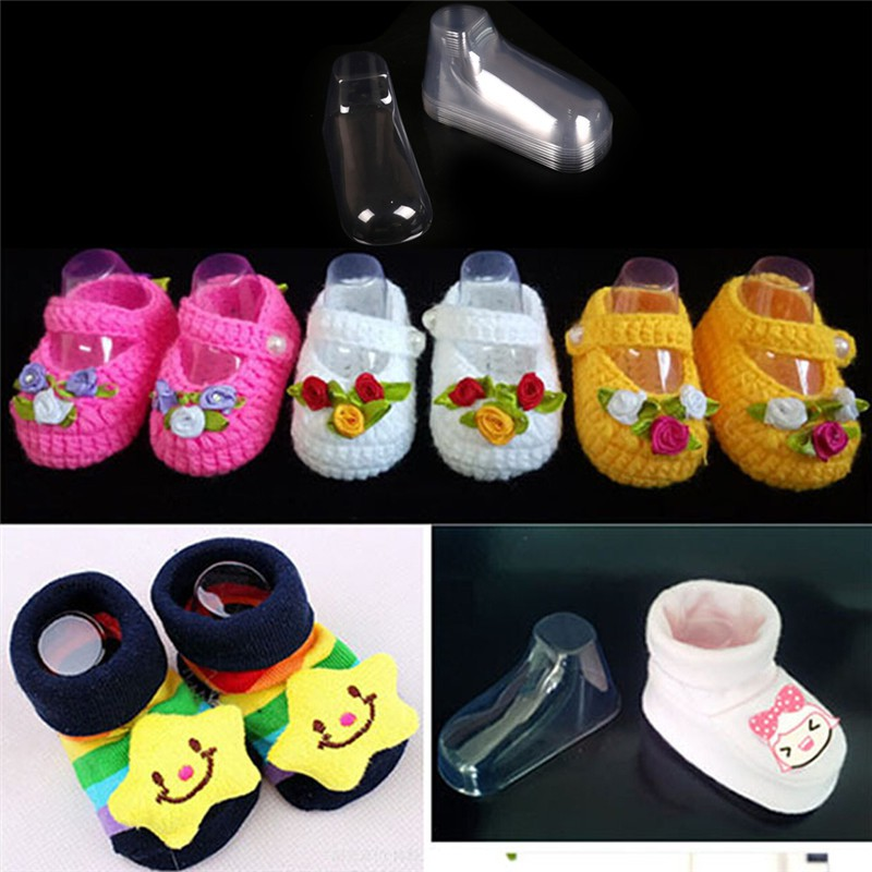 10Pcs Plastic Foot Model Sock Molds Baby Booties Mould Shoes Sock Display Fs