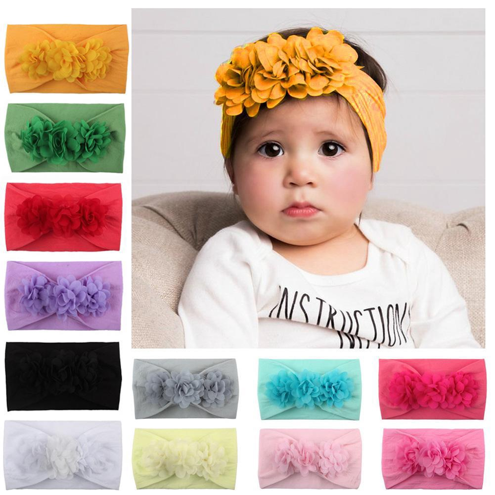 New Baby Toddler Girl Kids Bead Flower Turban Headband Hair Band One Size