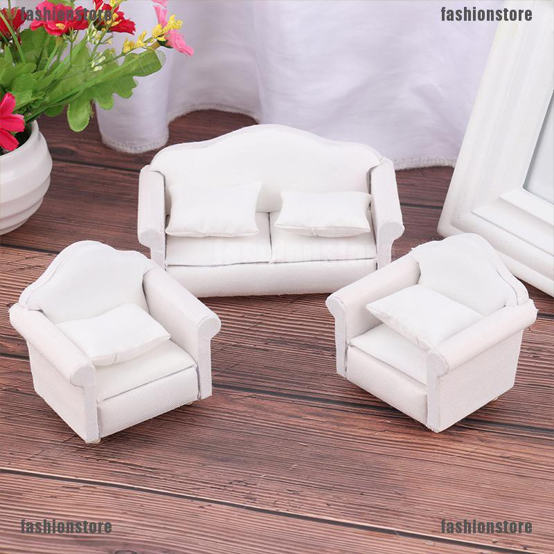Creative Scale Dollhouse Decoration Miniatures Flower Double Sofa Toys Mini Furniture Decoration for Doll House Accessories Kids Toys Gifts 1:12