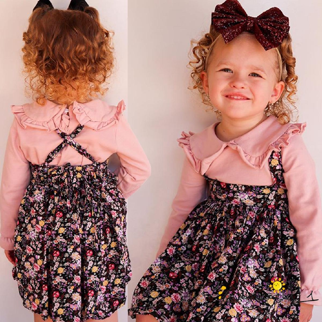 Cute Newborn Baby Girl Clothes Ruffle Long Sleeve Floral Romper Onesie Suepender Skirt Set Outfits