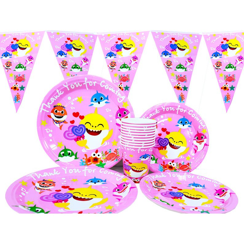 20 Guests 280 pcs baby Shark party Disposable Tableware set decorations kit