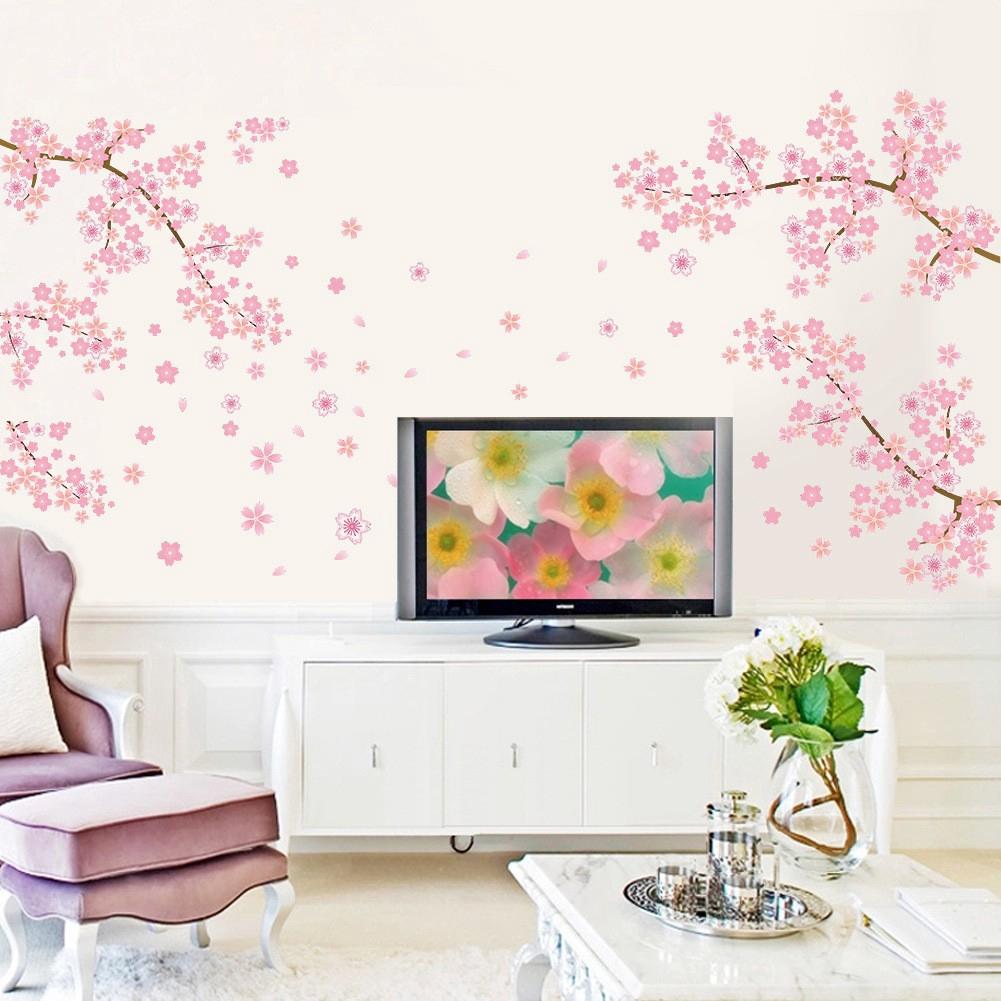 Pink Romantic Cherry Blossom Wall Sticker Bedroom Living Room Sofa