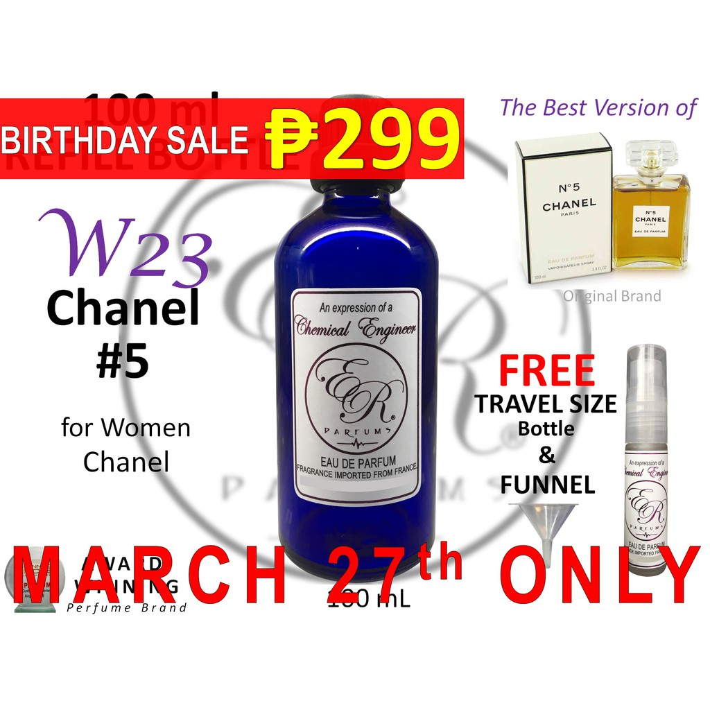 308affbe ER PARFUMS W23 Chanel #5 for Women by Chanel 100ml