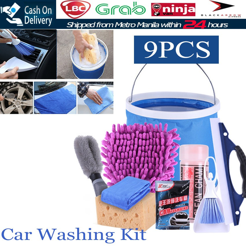9Pcs/set Portable Car Wash Tool Combination Car Wash Towel Mop Dust Brush  Cleaning Kits