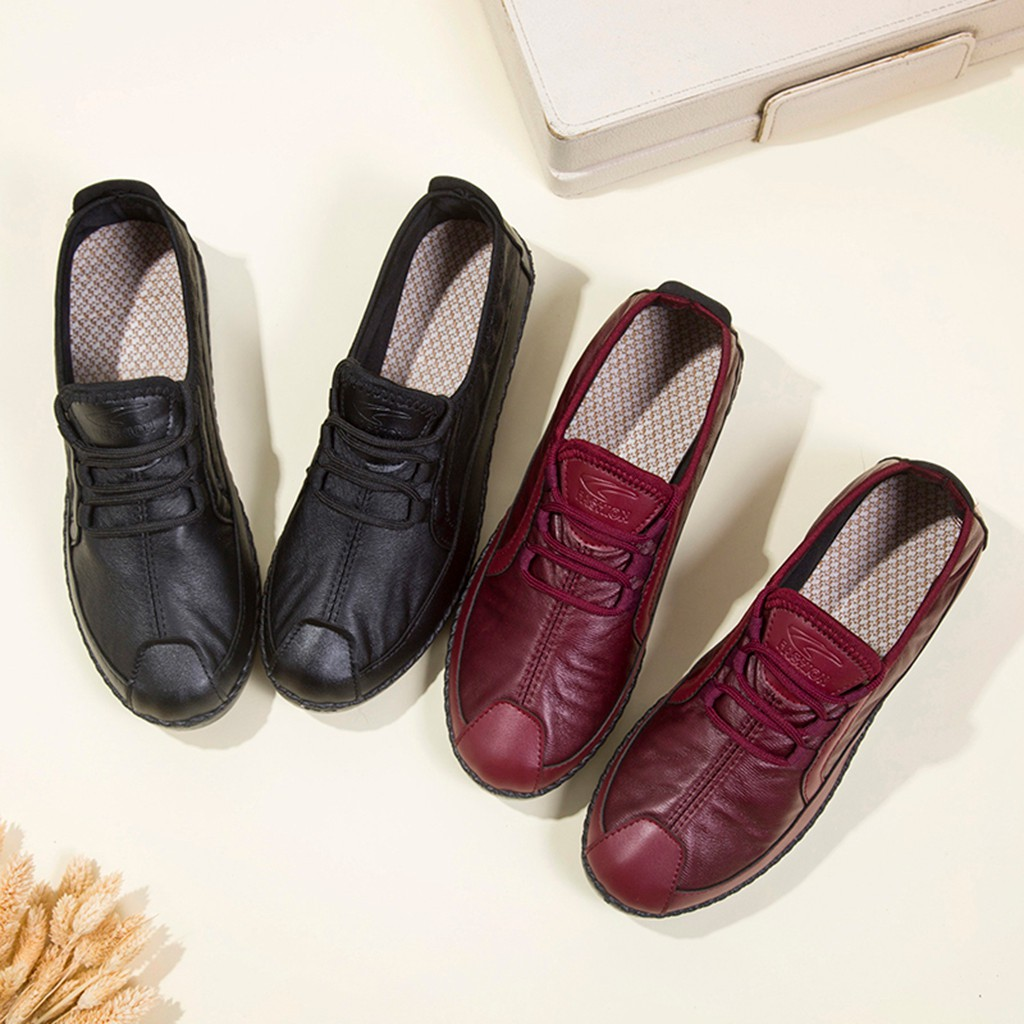 Womens Lace Ribbon Pointed Toe Oxfords Bowknot Plain Tone Leather Fashion Flat Shoes