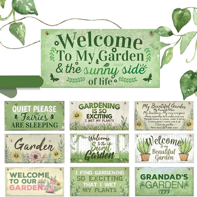 10 Kinds Of Garden Signs Wooden Hanging Plaques Home Decoration Shopee Philippines