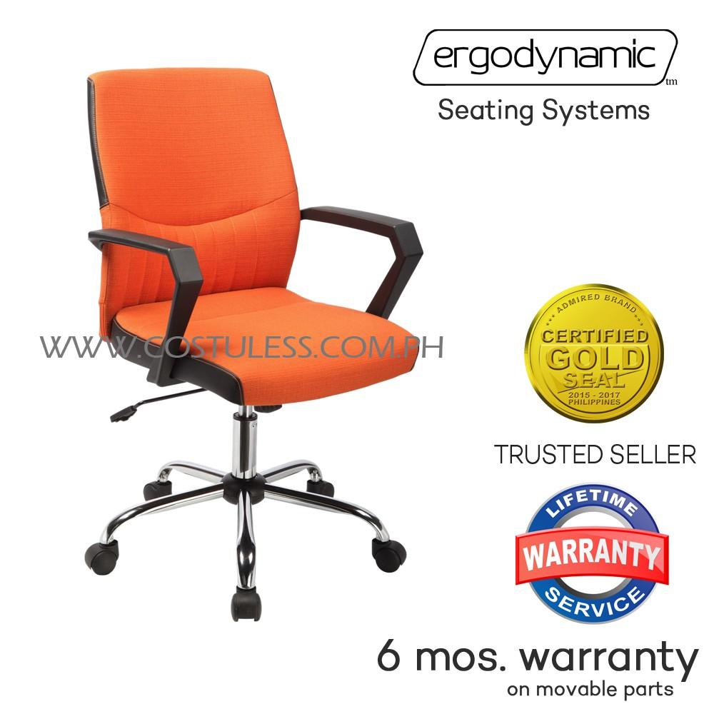 Gentil Ergodynamic EGC 122ORG Mid Back Office Chair (Orange) | Shopee Philippines