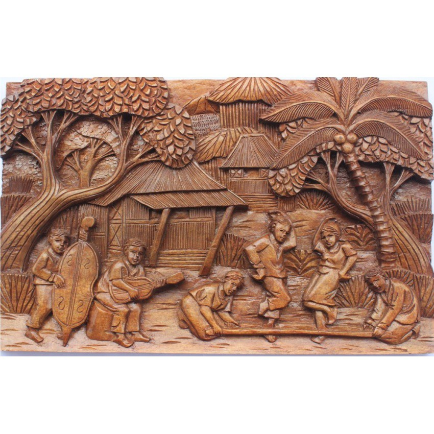 Tinikling Dance In Nature Wood Carved