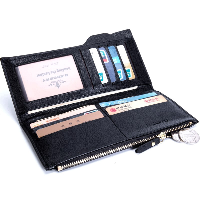 Men RFID Blocking Wallet Purse Leather Zipper Wallet Clutch