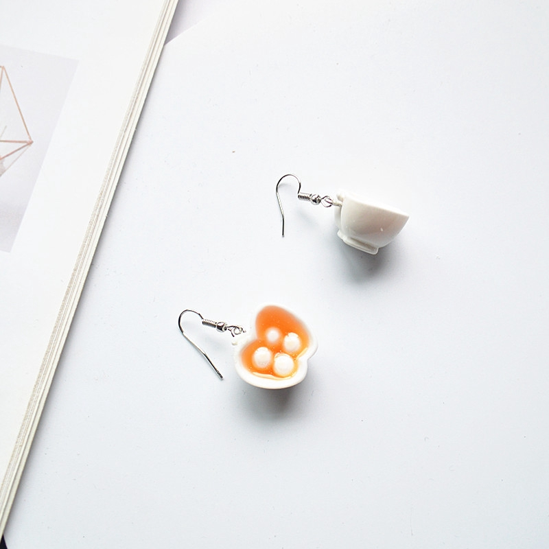 Heart Shaped Coffee Earring Mini Coffee Cup Personality Earrings Jewelry Gift SM