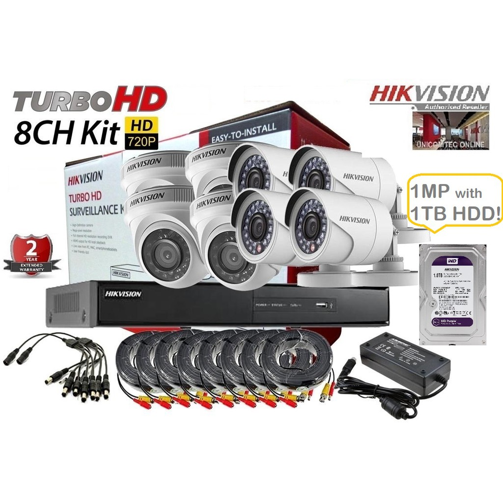 HIKVISION 8Ch 1MP Combo Kit w/ 1TB Hard Disk Drive Promo