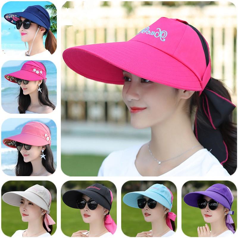 Sun hat Female Summer Sun hat Sun hat Big Edge UV Protection Outdoor Riding Wild Empty top hat