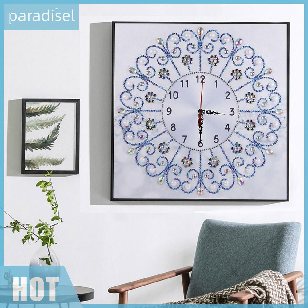DIY Special Shaped Diamond Painting Flower Wall Clock Crafts Home Art Decor