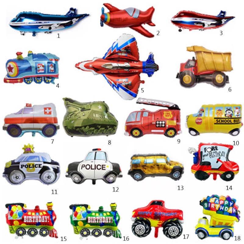 1pc Cartoon Car Balloons Fire Truck Train Excavator Ambulance Foil Balloon Birthday Party Decor Shopee Philippines