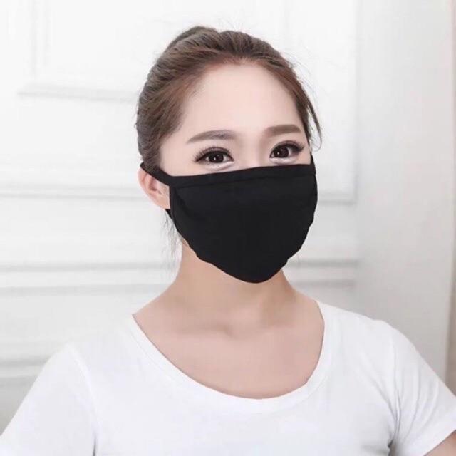 [Ready Stock] Fiona Black Mouth Face Mask Anti-Dust Cotton Unisex Men Women COD