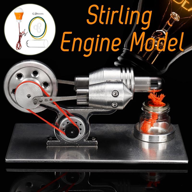 DIY Hot Air Stirling Engine Motor Model External Combustion Engine School + Light Bulb Kid Toy