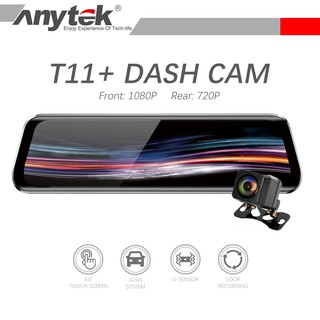 Streaming 170/° Wide Angle with Night Vision Car Cam 10 inch Full HD 1080P Touch Screen Car DVR Video Recorder,Front and Rear Dual Lens with Backup Camera Mirror Dash Cam Black, 10.2 x 2.8