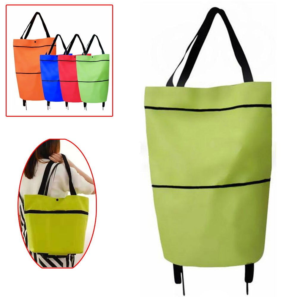 Plain Portable Trolley Bags Shopping Cart Bag With Wheels(green) | Shopee  Philippines