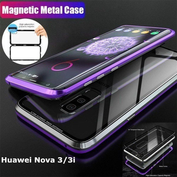 cheap for discount bc358 6859d Huawei Nova 3 / 3i Magnetic Metal + Glass Back Cover Case P30 P30 Pro P30  Lite