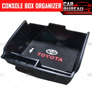 Car Armrest Storage Box For T OYOTA Hilux//Fortuner 2015-2018 Center Console Organizer Tray With Anti-Slip Mat,Car Interior Accessories