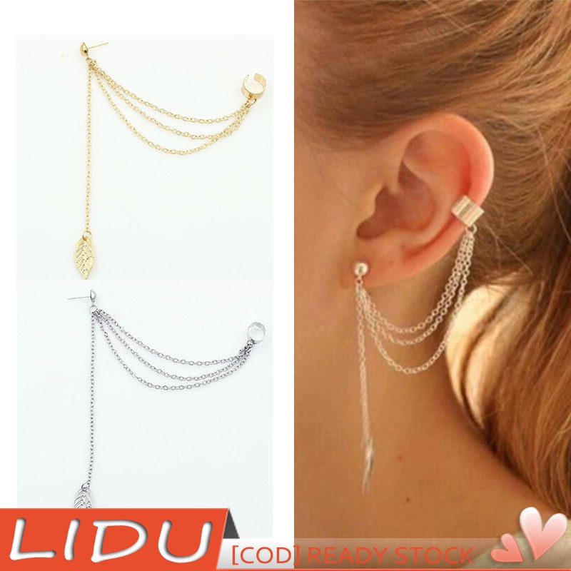 LIDU Women Punk Rock Leaf Chain Tassel Earrings Ear Clip