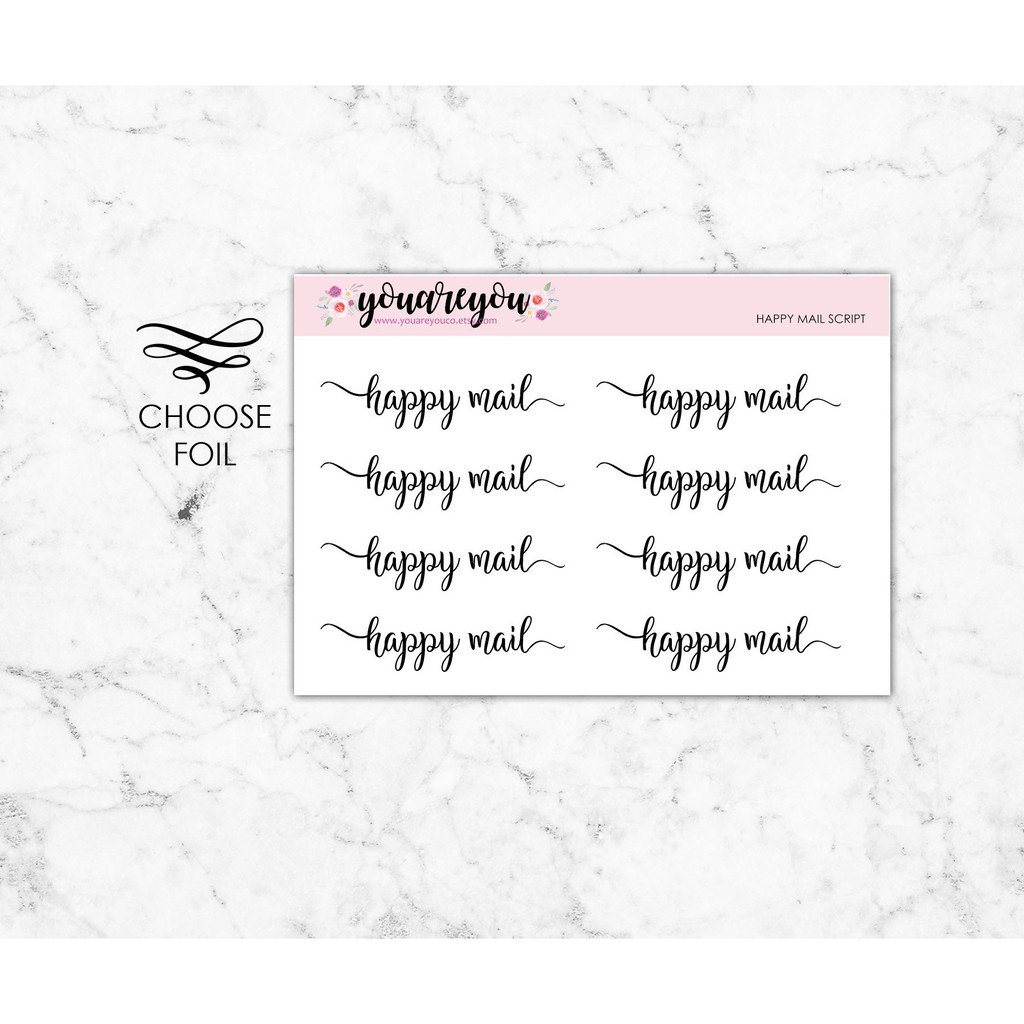 Foiled Script Planner Stickers on