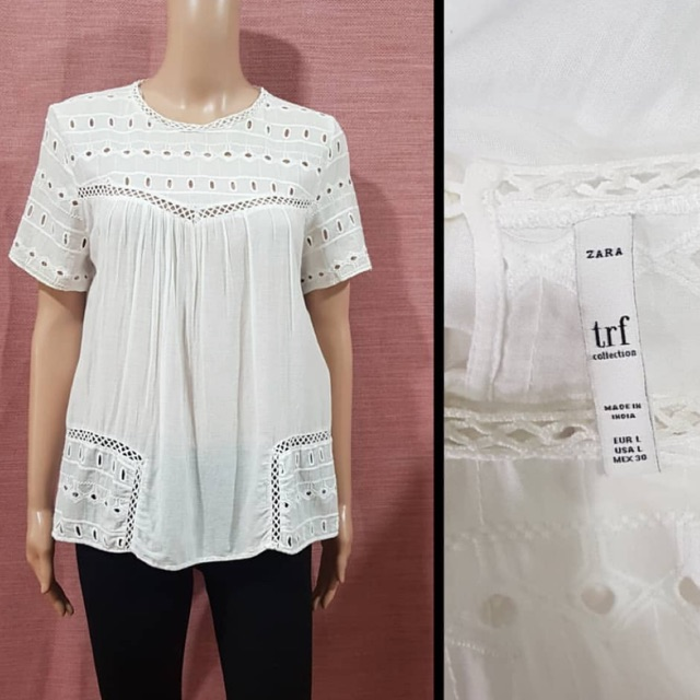 Zara Basic Womens Size Medium Sleeveless Peplum Eyelet Print Top
