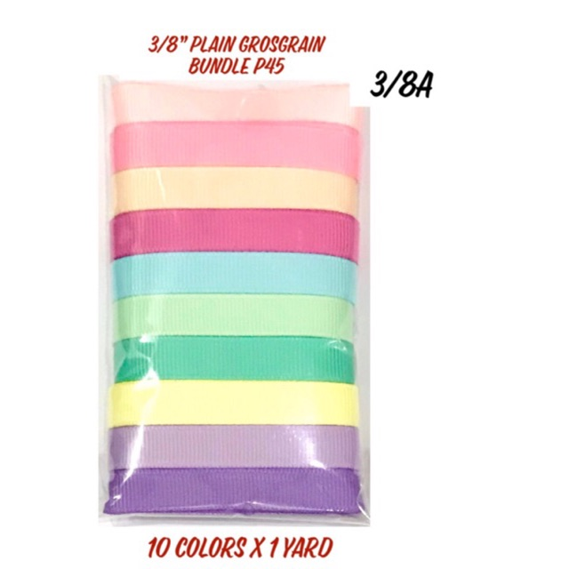 3/8inch Plain Grosgrain Ribbon Bundle Packs