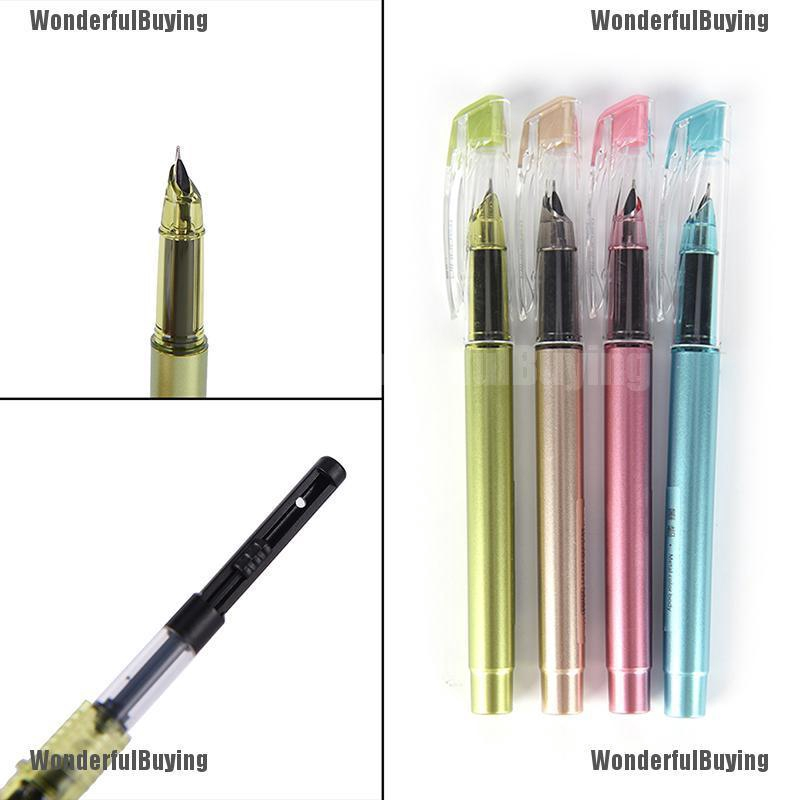 1X Plastic Calligraphy Fountain Pen Ink Pen For Writing Gift Korean Stationery Y